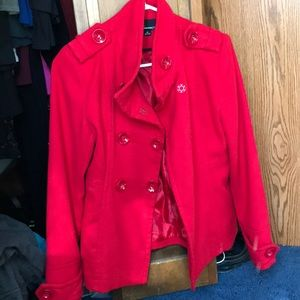 forever 21 red peacoat, size small